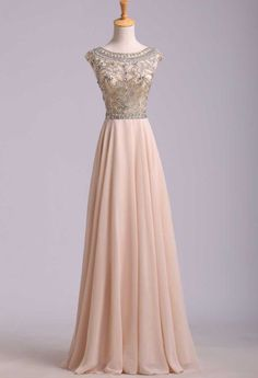 2014 Elegant Prom Dresses A-Line Scoop Beaded Bodice Floor-Length Chiffon Zipper Back USD 169.99 LPPGEEZGB - Labeautes.com for mobile