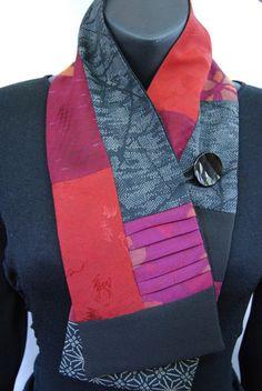 Vintage Kimono Neck Wrap - Plum and Red Cranes