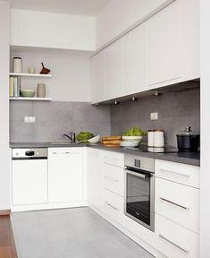 # Kitchen color scheme for white kitchen – 32 ideas for wall color - White Kitchen Remodel Kitchen Flooring, Kitchen Colors, Kitchen Remodel, Modern Kitchen, Kitchen Colour Schemes, Home Kitchens, Minimalist Kitchen, Kitchen Renovation, Kitchen Design