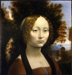 """Ginevra de'Benci"" in 1474-78 by Leonardo (1452-1519)  This portrait is at the National Gallery in Washington, and it is beautiful."