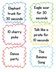 My firsties have a tough time sitting though our 3 hour ELA block, so I decided to do some research and collect a bunch of brain break ideas and make cards that I can cut out, laminate, and pick randomly from a bucket. This way, my students can have a random, short fun brain break before getting back to work! There are 18 brain breaks and I plan on thinking up and adding some more once we get through these!  Graphics from Graphics From The Pond http://www.teacherspayteachers.com/Store/Graphics-From-The-Pond