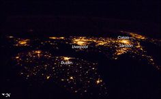 The British Isles at night. Photograph taken from the International Space Station.