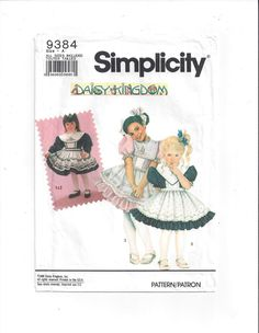 Simplicity 9384 Pattern for Daisy Kingdom Girls' Dress & Pinafore, From 1991, Most UNCUT, Sizes 3 - 6X, Vintage Pattern, Home Sewing Pattern by VictorianWardrobe on Etsy