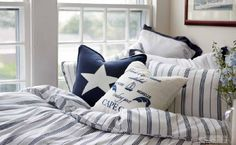 Lises home: Gant Home, Kennedy Summer House Decor, Guest Bedroom, Home, Home Bedroom, House Styles, House, Interior Design, Coastal Bedroom, Nautical Bedroom