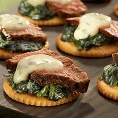 """Recipe by Allrecipes Allstar Doug Mathews: """"New York City is known for having some of the most famous steakhouses in the world and now you can experience classic New York Steakhouse taste in one bite with RITZ Steakhouse Bites. Yummy Appetizers, Appetizers For Party, Appetizer Recipes, Appetizer Ideas, Bearnaise Sauce, Great Recipes, Favorite Recipes, Creamed Spinach, Ritz Crackers"""