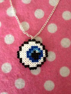 Mini Hama Bead 8 Bit Pixel Eyeball Necklace Geek. $6.50, via Etsy.