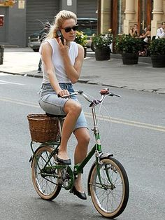 Chloe Sevigny on a vintage folding bike. I have two Italian folding bikes for sale. Contact for details!