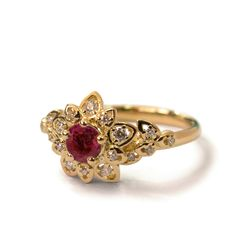 Ruby Art Deco Petal Engagement Ring - Unique Ruby Engagement Ring, leaf ring, flower ring, vintage, halo ring, Ruby and Diamonds, 2B by DORONMERAVCLASSICS on Etsy https://www.etsy.com/listing/201249321/ruby-art-deco-petal-engagement-ring
