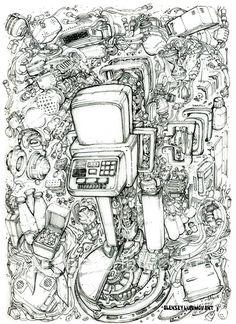 "Author Aleksey Lubimov/Time machine. Машина времени, миелофон, кефир и галстуг из кинофильма ""Гостья из будущего"". Engine.Technodoodling.  #алексейлюбимовбиомеханика #алексейлюбимов #стимпанк #дизельпанк #биомеханика #миелофон #robot #steampunk #dieselpunk #alekseylubimov #biomechanical #lubimov #кирбулычев #машинавремени"