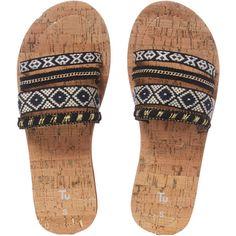 Pom-pom Mule Flip Flops ($11) ❤ liked on Polyvore featuring shoes, sandals, flip flops, flats, pom pom shoes, flat pumps, mule flats shoes, mule shoes and flats sandals