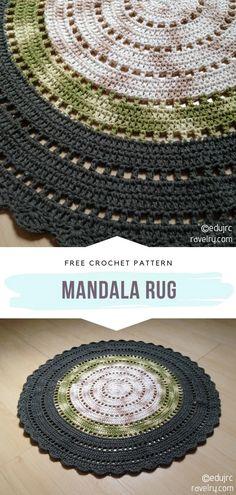 Diy Tricot Crochet, Crochet Mat, Crochet Carpet, Crochet Rug Patterns, Crochet Mandala Pattern, Crochet Home, Crochet Crafts, Crochet Projects, Free Crochet