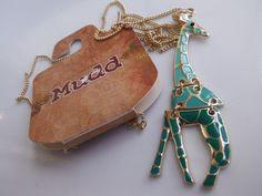 MUDD Giraffe Pendant Necklace Gold-Toned Enamel Green Jointed Kohl's $16