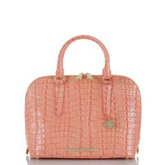 The #Brahmin in Vivian Dome Satchel in La Scala Mai Tai is the perfect roomy satchel on trend now