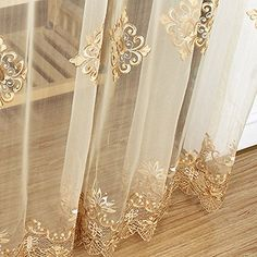 Online Shop Luxury Embroidered Sheer Voile Curtains Window Drapes Cortina for Living Room Door Gold Lace Curtains Tulle Windows Tulle Curtains, Cheap Curtains, Grommet Curtains, Colorful Curtains, Window Curtains, Luxury Curtains, Drapery, Rideaux Design, Bordado Floral