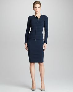 You can never go wrong with Armani. Jersey Zip Jacket &  Pencil Skirt by Giorgio Armani at Bergdorf Goodman.