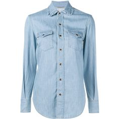 Saint Laurent Ruffle Collar Denim Shirt ($575) ❤ liked on Polyvore featuring tops, shirts, button down, blue shirt, blue button down shirt, light blue button up shirt, button up shirts and slim fit denim shirt