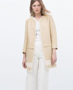 Image 2 of LINEN COAT WITH BORDER from Zara