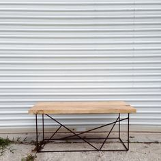 Ready to Ship reclaimed recycled wood CYPRESS coffee table with modern steel black base.