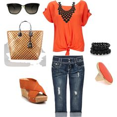 love the orange shirt with the necklace