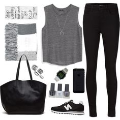 A fashion look from December 2015 by candice-cmd featuring MANGO, J Brand, New Balance, Timex, FOSSIL and Topshop