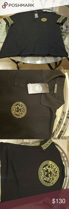 Versace Men's Polo - Size XL Black & Gold Men Versace Polo. Size XL NEW Versace Shirts Polos