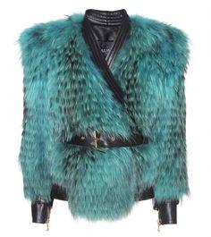 BALMAIN Blue Leather And Fur Biker Jacket  - Lyst