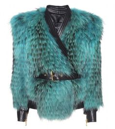 BALMAIN Blue Leather And Fur Biker Jacket  - Lyst