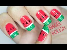 Wassermelonen Nägel Tutorial | Fruchtiges Nageldesign - YouTube