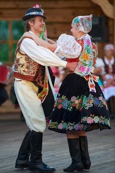 Couple dancing traditional slovak dance in traditional slovak costume from village Hrochoť , in region Podpoľanie in Central Slovakia. Folk Dance, Dance Art, Bratislava, Costumes Around The World, Art Populaire, Shall We Dance, Beautiful Costumes, Folk Costume, Historical Clothing