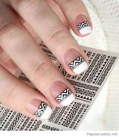 Simple but awesome manicure with boho print