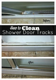 How to Clean Shower Door Tracks - Lay paper towels soaked in vinegar along the shower door tracks, and leave them there for 30 minutes. When the time's up, the grime should easily come off with a toothbrush. For tight spots, use a cotton bud. Household Cleaning Tips, Cleaning Recipes, House Cleaning Tips, Deep Cleaning, Spring Cleaning, Cleaning Hacks, Hacks Diy, Cleaning Lists, Cleaning Quotes