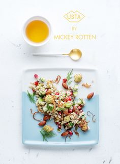 SALAD WITH PEARL BARLEY, CAULIFLOWER, POMEGRANATE AND BRUSHWOOD WITH SHALLOTS