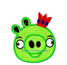 Angry Bird Green Pig with Crown Machine Embroidery Applique Design - Whimsical Embroidery Designs