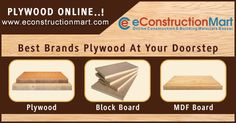 Are you looking to purchase #plywood or block boards? Buy Plywood, Laminates, Block Boards and Adhesives online at best price in India from eConstruction Mart.
