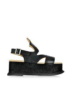 MM6+Maison+Martin+Margiela+Black+Leather+Wedge+Sandal