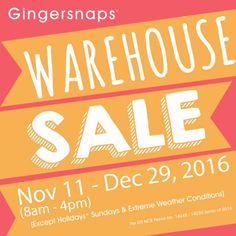 Check out Gingersnaps Warehouse SALE!  Get great discounts on Gingersnaps fashionable children's apparel  and maternity wear!  Promo available on November 11 - December 29, 2016 at Gingersnaps Warehouse located at Warehouse 23, Armal Compound II, Eusebio Avenue, San Miguel, Pasig City.  For more promo deals, VISIT http://mypromo.com.ph/! SUBSCRIPTION IS FREE! Please SHARE MyPromo Online Page to your friends to enjoy promo deals!