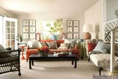 Orange Couch Living Room Ideas - The most approved thing in furniture is sofa these days. Every modern dwelling have sofa. Coral Living Rooms, Living Colors, Living Room Orange, Colourful Living Room, Cottage Living Rooms, Living Room Sofa, Living Room Furniture, Living Room Decor, Cottage Homes