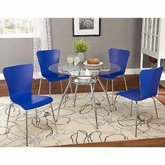 Elegant 5 Piece Patio Dining Set Outdoor Furniture Garden Chairs Table Blue #GaylaMur