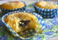Country Comfort Muffins with Blueberry Chia Jam. The jam is baked on the inside with a crunchy sweet topping. Hard to believe they are sugarfree. #lowcarb, #sugarfree, #glutenfree