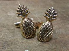 1960's Pineapple Cufflinks  Vintage Novelty by LittleGhostVintage