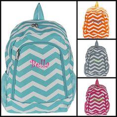 Monogrammed Personalized Custom Chevron Orange, Pink, Gray, Aqua Camo Pink Back to School Backpack Book Bag Gym ZigZag Dance on Etsy, $14.99