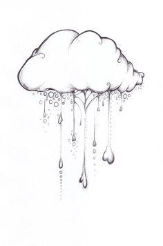 Happy Cloud Drawing, Cute Whimsical Illustration Art Print by Olechka - X-Small Pencil Art Drawings, Art Drawings Sketches, Doodle Drawings, Easy Drawings, Cloud Drawing, Cloud Art, Sketch Cloud, Drawing Rain, Art And Illustration