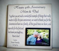 Anniversary Picture Frame Gift 40th by YourPictureStory on Etsy
