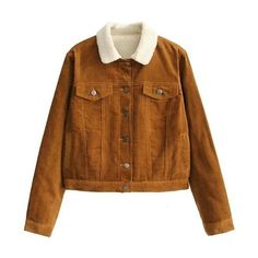 Fleece-Lined Corduroy Jacket ❤ liked on Polyvore featuring outerwear, jackets, brown corduroy jacket, fleece lined jacket, corduroy jacket, cordoroy jacket and brown jacket
