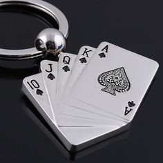 Cool Metal Key Chain Ring Best Christmas Gift Poker Keychain Keyfob Keyring New On Car