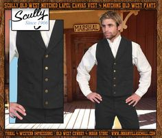 Scully Old West Notched Lapel Canvas Vest- Black -from Tribal And Western Impressions- Old West Cowboy And Indian Store - www.indianvillagemall.com