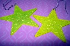 NEON YELLOW STAR EARRINGS by thejewelrydream on Etsy, $6.99