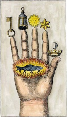 the hand of the philosophers - alchemical drawing, 1773