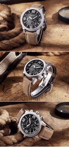 Band Length: 26 cm Water Resistance Depth: 3 Bar Case Shape: Round Band Material Type: Leather Feature: Water Resistant,Complete Calendar,Luminous,Chronograph,Auto Date Dial Diameter: 48 mm Case Thick