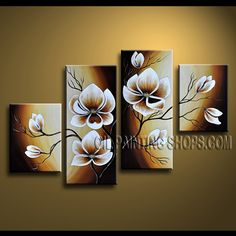 Large Contemporary Wall Art Artist Oil Painting Stretched Ready To Hang Tulip Flowers. This 4 panels canvas wall art is hand painted by Anmi.Z, instock - $138. To see more, visit OilPaintingShops.com